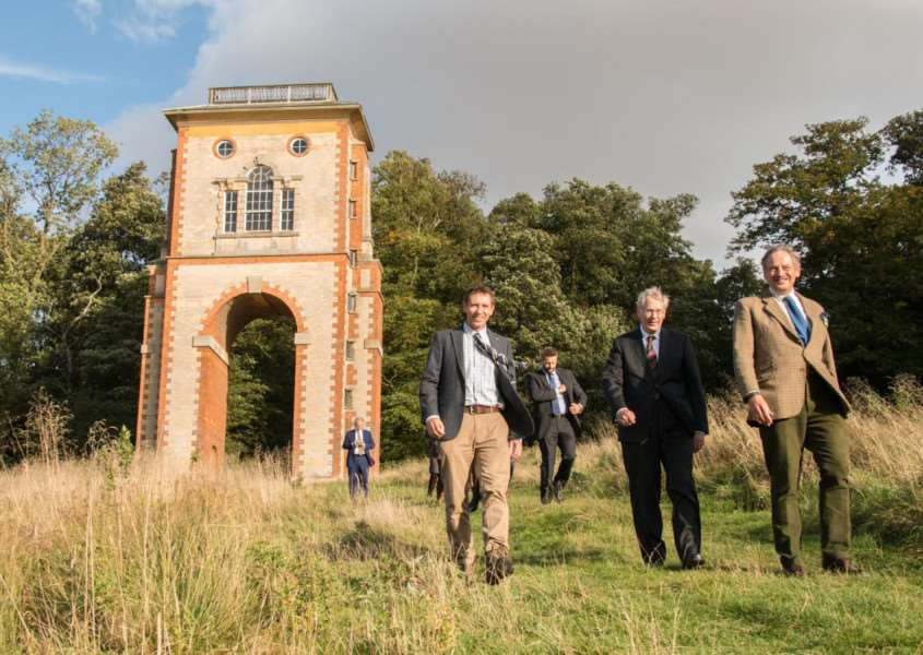 The Duke of Gloucester at Belmont Tower with Woodland Trust director of fundraising Karl Mitchell (left). Photo: Philip Formby.