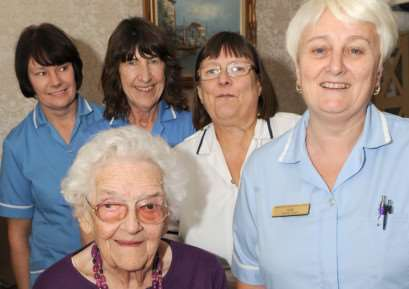 Gladys Waite of Skegness celebrating her 103rd birthday. Pictured with Westcotes Residential Home staff L-R Linda Shelly, Mavis Redfern, Jane Newbet and Sue Taylor.