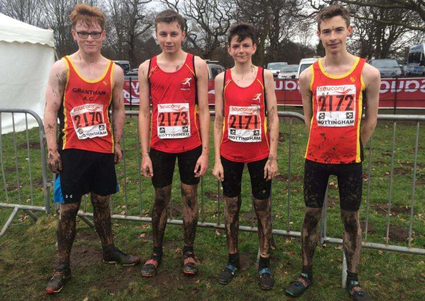 Grantham AC's mud-spattered under-17 boys team.