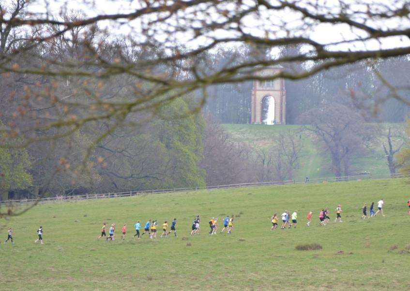 The Grantham Cup 10km race unfolds under the shadow of Belmount Tower.