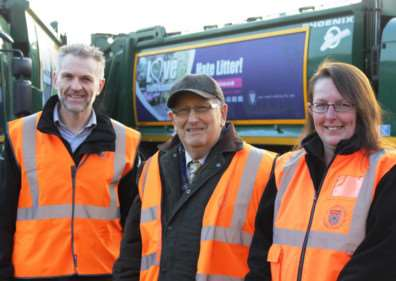 Love hate campaign. Pictured are SKDC Transport Manager Blake Hutchinson, Coun John Smith and Sarah Hallam from the Waste and Recycling Team.