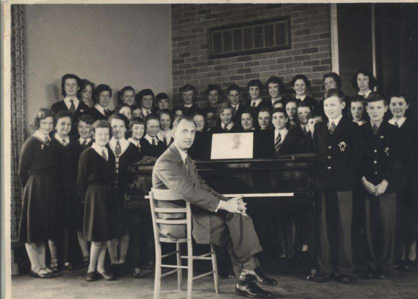 Geoff Winter with his choir at St Wulfram's School between 1956 and 1965.