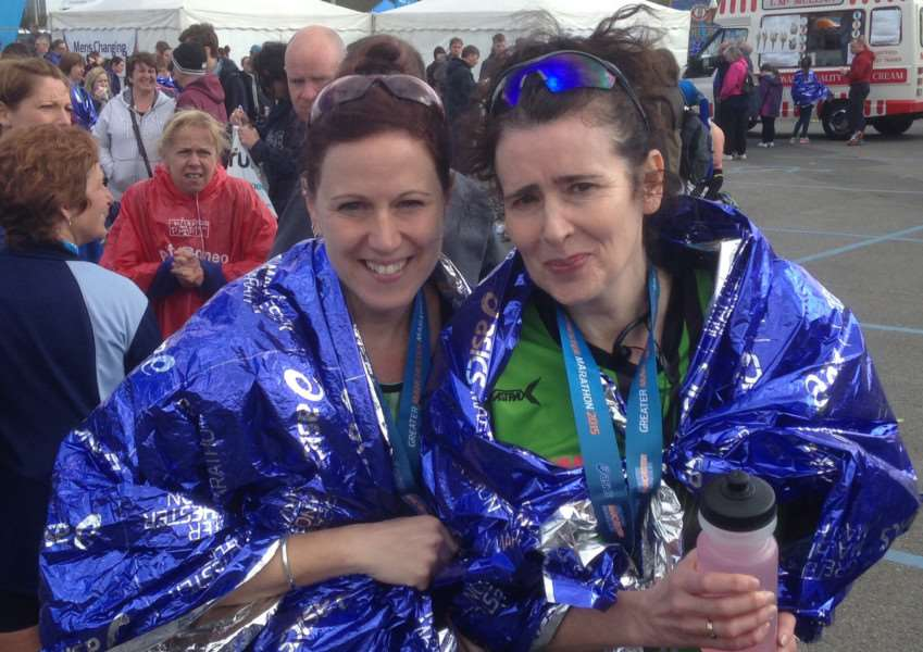 Ruth Dunstan and Nikki Carr after completing the Manchester Marathon.