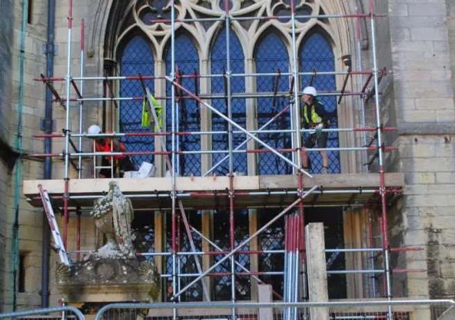 Repairs to the south west window at St Wulfram's Church in Grantham.