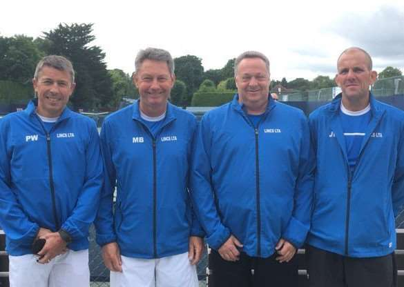 Grantham Tennis Club players Paul White and Mike Burnett alongside their Lincolnshire over-50s team-mates Dave Jones and James Newton.