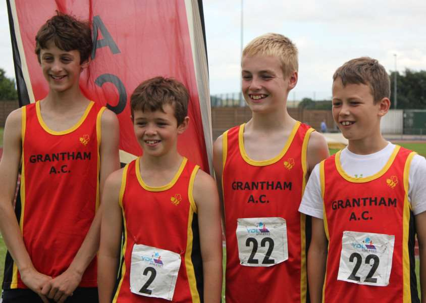 The victorious Grantham AC U13 boys' 4x100m relay team, from left - George Whinney, Ewan Rodell, Harry Denton and Mathew Dunstan.