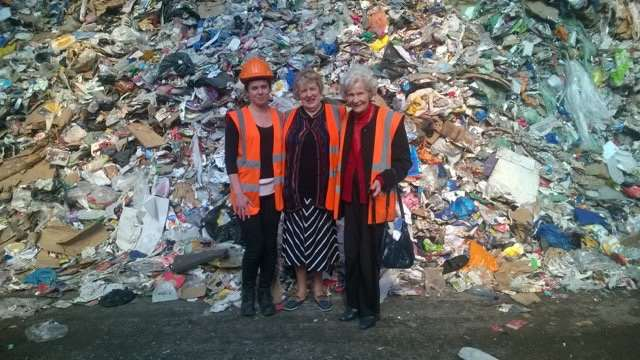 From left, Attila Botos, of Mid-UK Recycling, Shirley Grayson and Joan Bond.