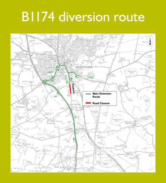 The B1174 diversion route.