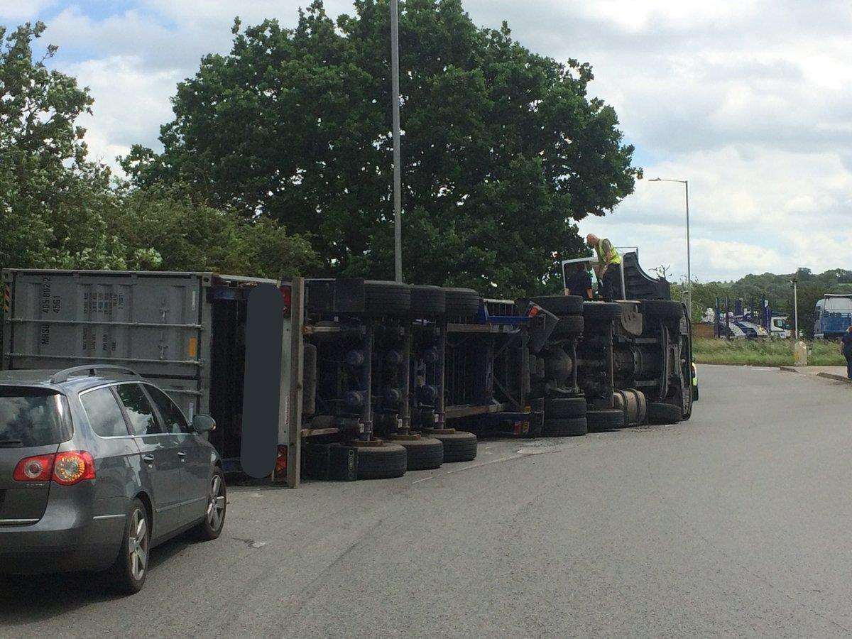 A HGV has overturned near Gonerby Moor roundabout, A1. Photo: Supt Phil Vickers via Twitter. (2551716)