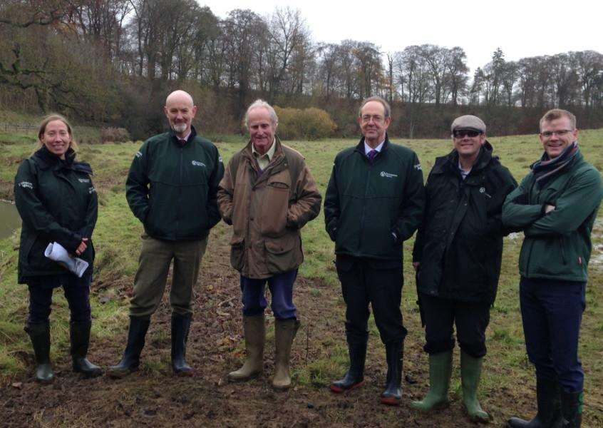 Pictured on a visit to Grange Farm near Grantham are Katherine Murphy, EA Environment Management Specialist, Toby Willison, Environment Agency Executive Director, Neil McCorquodale, Landowner'James Bevan, EA Chief Executive, Matt Parr, EA Fisheries Officer,'Norman Robinson, EA Area Manager for Lincolnshire and Northamptonshire.