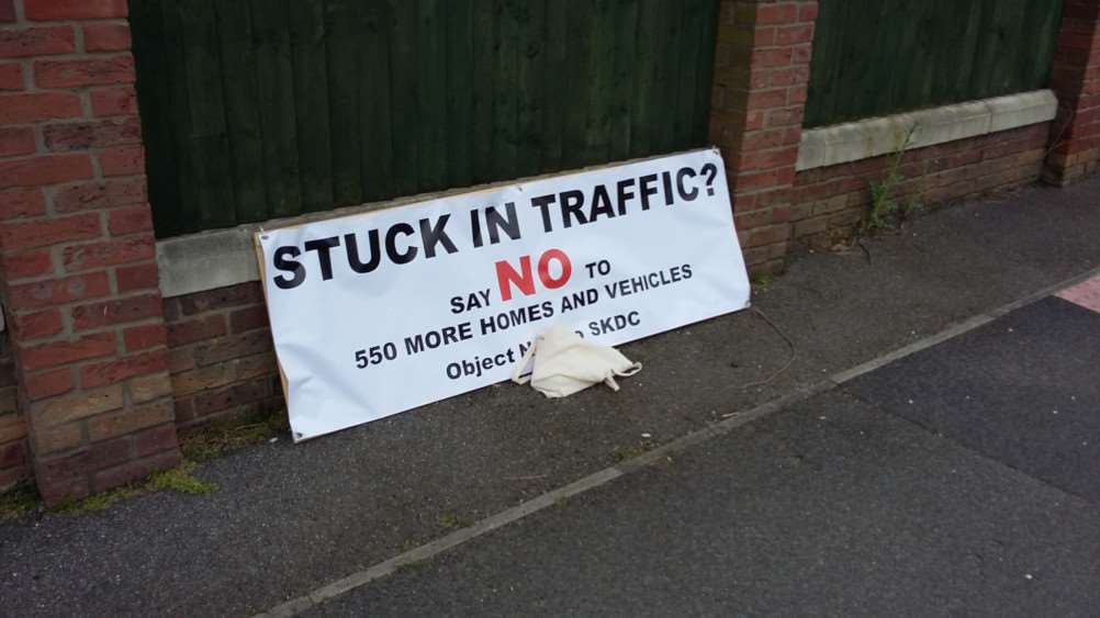 A protest banner used by those who are against the proposal to build 550 homes in Manthorpe.