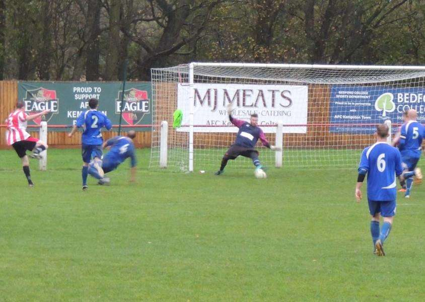All a bit of a blur: Arrows man of the match Jonny Hotson saves with his foot in the first half.