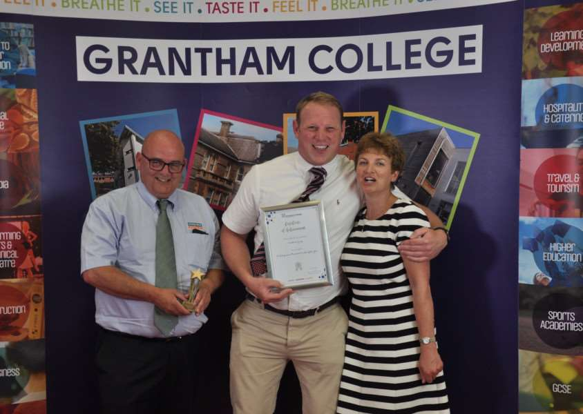 Pictured are, from left - Andy Evans (Robert Woodhead Limited - Site Manager), Wayne Brooks (Robert Woodhead Limited - Site Manager) and Janet Cannon (Deputy Principal at Grantham College).