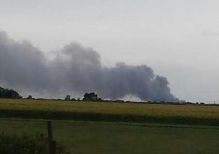 Smoke is visible from Caythorpe Heath.