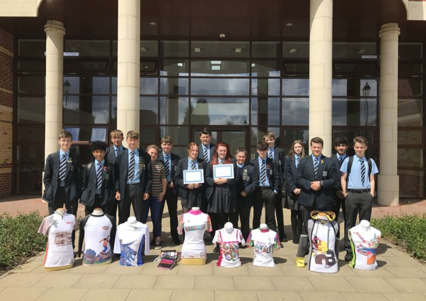 Year 11 students at Priory Ruskin Academy with their design awards.