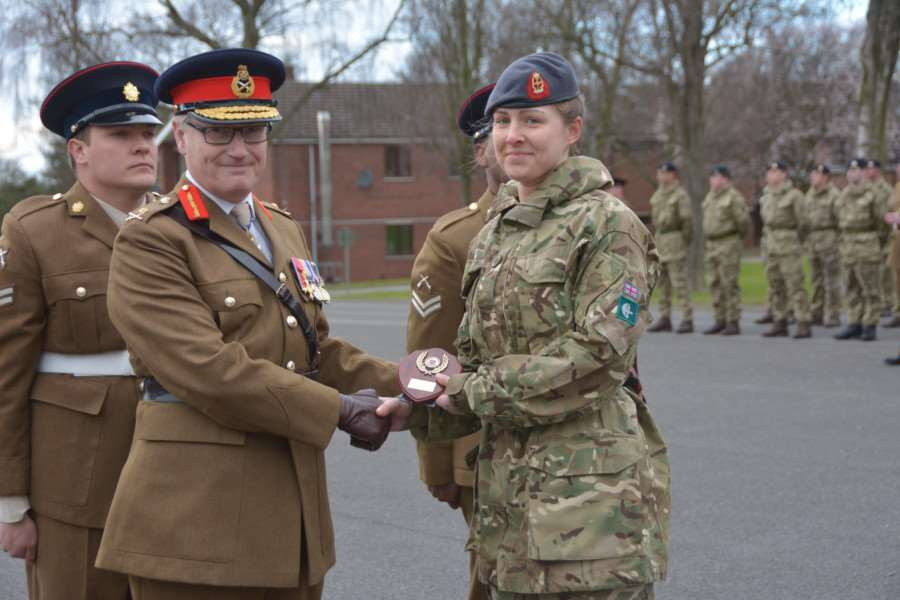 Army Training Unit Grantham passout Parade held at PWG Barracks Grantham reviewing Officer Major General S Brooks-Ward CVO OBE TD VR (pictured) Pte Sarah King RAMC EMN-160203-103153001