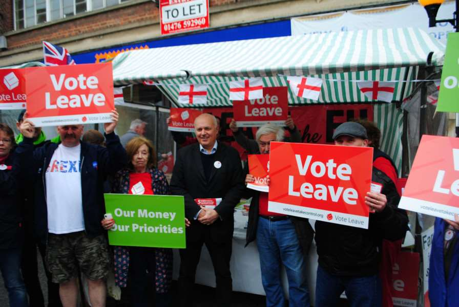 Iain Duncan Smith at the Vote Leave stall in Grantham market.