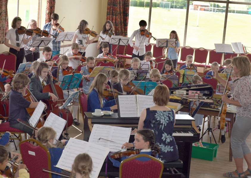 Young string players rehearsing in Hose Village Hall in preparation for Violins in the Vale. 'PHOTO: Tim Williams