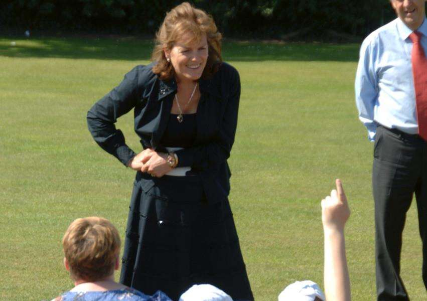 The Duchess of Rutland with children on a Cricket & Countryside Education Day on the Belvoir Estate.