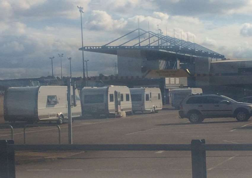 Up to ten caravans parked in the stadium carpark.