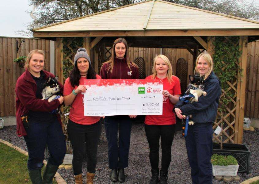 Cheque presentation from Pets at Home to RSPCA Radcliffe.