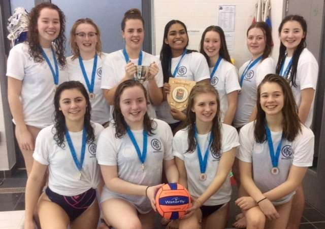 U18 ESSA National Water Polo Champions KGGS are, from left, back - Sadie Langdon, India Wilkinson, Giorgia Bosworth, Naya Patel, Lily Jackson, Katie Knott and Georgia Coyle; front - Rose Bitowt, Amelia Peters, Rachel Orridge and Alexandra Barnett.