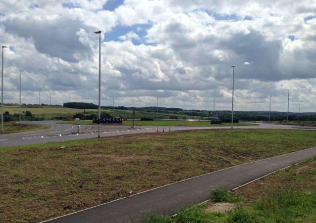 The new roundabout on the B1174 built as part of the new relief road.