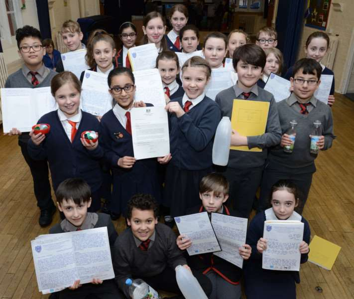 Pupil power: Year 6 pupils sent persuasive letters to Downing Street about the 'plight of plastic'.