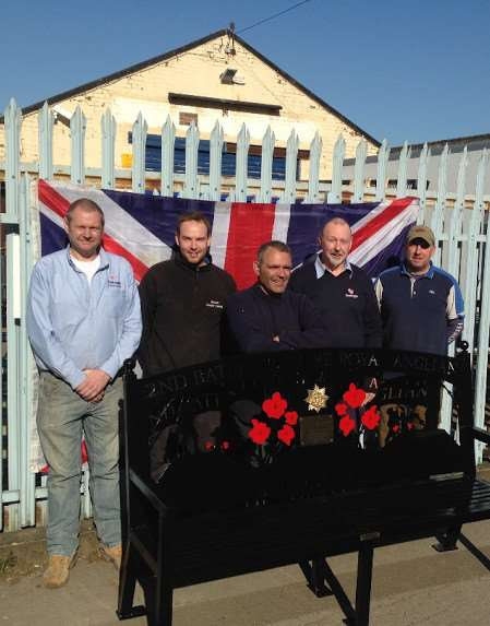 The men who made Nick's bench a reality. From left - Alan Hardisty of Pentangle Fabrications, Kevin Mascot of Mascot Powder Coating, Roll and Scroll's Chris Kennedy, Nigel Rivers of Pentangle Engineering and Nick's friend Glenn Wormall. Carl Gilbert of Arraquip was also involved.
