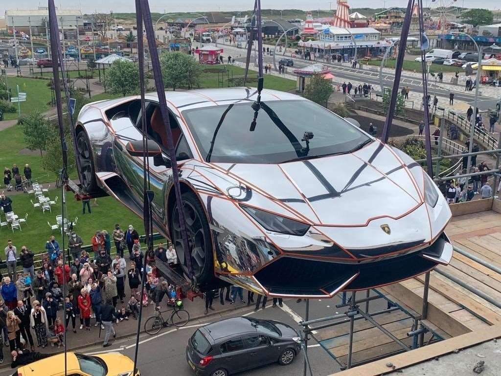 The supercar is lifted into The Hive in Skegness. (47672481)