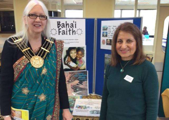 Mayor of Grantham Linda Wootten wears a sari at the multi-faith event at Grantham College.