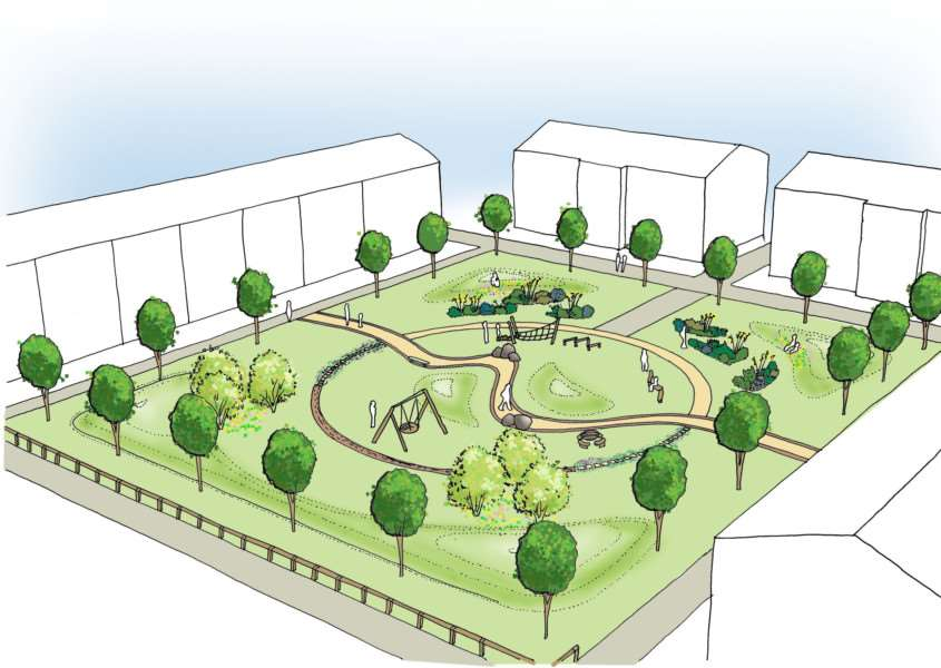 An artist's impression of the planned play area and public open space at Tissington Road, Grantham.