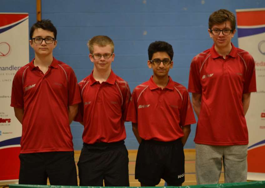 Pictured are Chandlers B NJL squad, from left - Ben Johnson, Trafford Mason, Viren Panchal and Samuel Bailey.