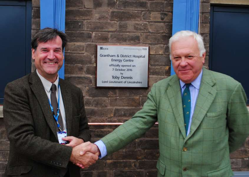 Chairman of United Lincolnshire Hospitals NHS Trust Prof Dean Fathers shakes hands with the Lord Lieutenant of Lincolnshire Toby Dennis after the official opening of the new energy centre at Grantham Hospital.