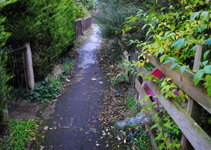 The path between houses in Thames Road, Grantham.