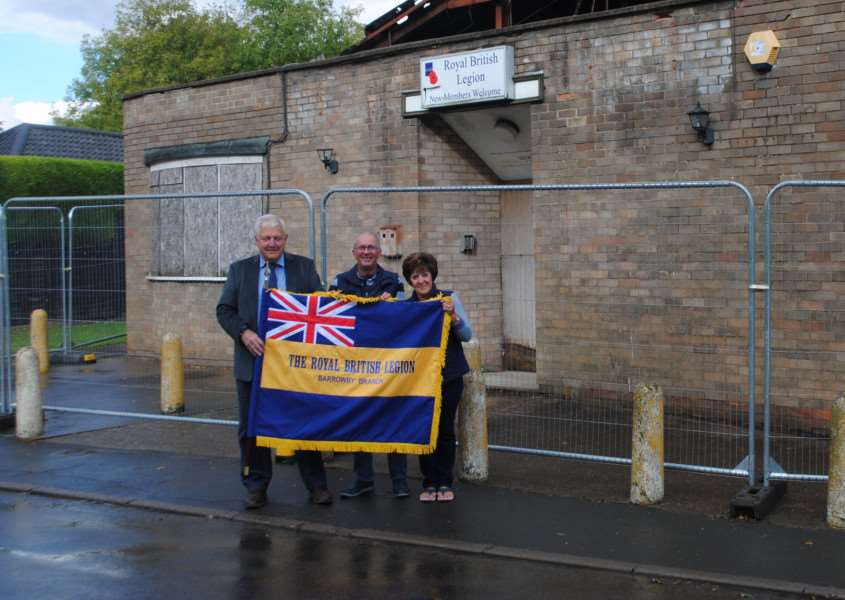 Outside the Barrowby Royal British Legion club are, from left - Phil Cupit, Catherine Critchley and Michael Elson.