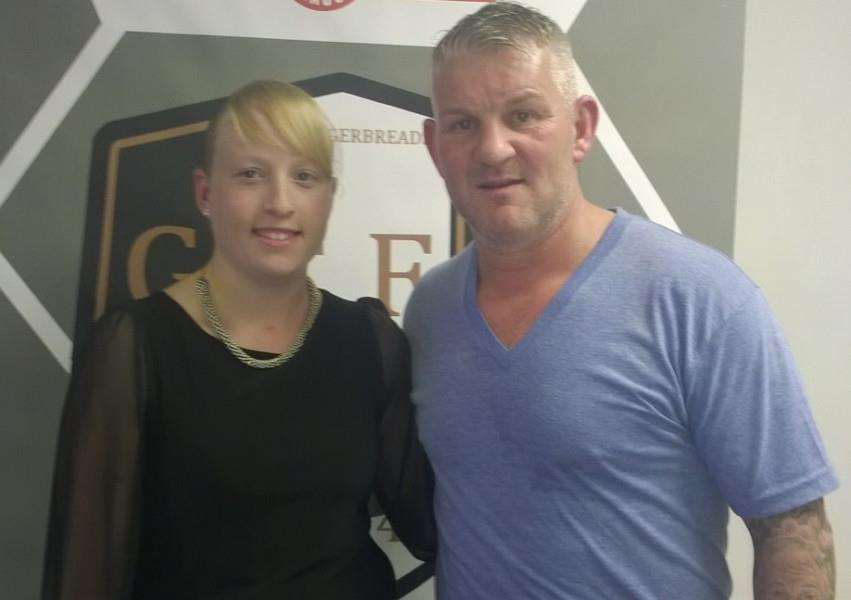 Grantham Town development manager Sophie Cope with Dean Windass.