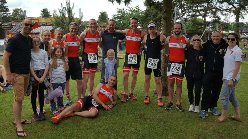 Pictured at Woodhall Spa are, from left, back - Karl Hunt, Natalie Eastaugh, Sophie Stanley, Alistair Knott, Rob Spashett, Phil Davies, Wayne France, David Kay, Chris Masters, Andrea Burnham, Neal Burnham and Sophie Hunt; front - Chris Pugh.