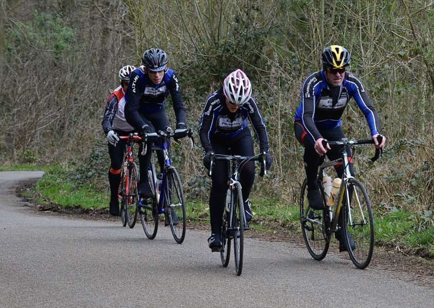 Witham Wheelers toil up an ascent in the Vale of Belvoir on Sunday. Photo: Alan East