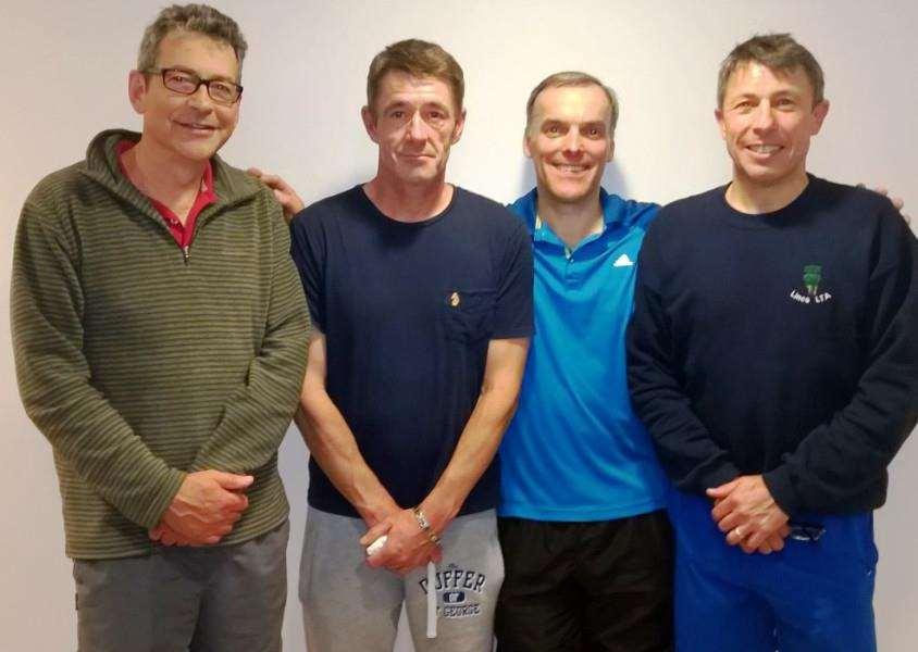 Grantham Tennis Club over-50s, from left - Karel Meuwissen, Nigel Birch, Rob Isaac and Paul White.
