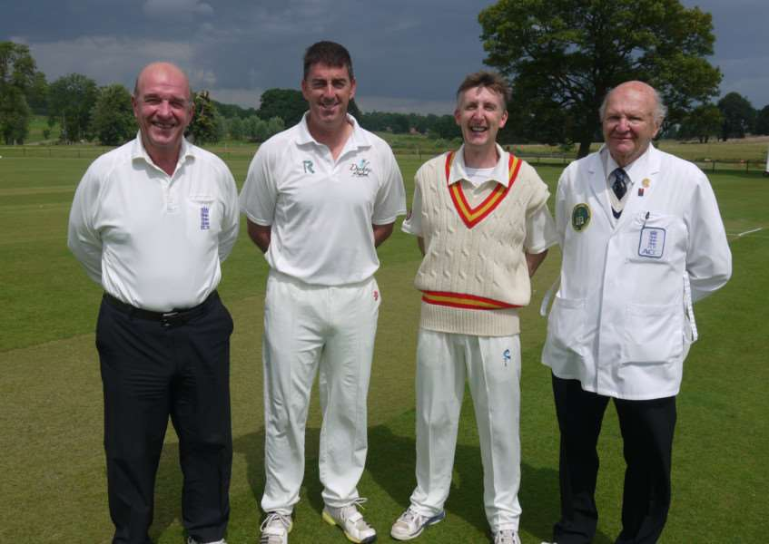 Captains Robert Pack and Darren Bicknell at the toss with umpires George Sharpe and Vic Heppenstall.