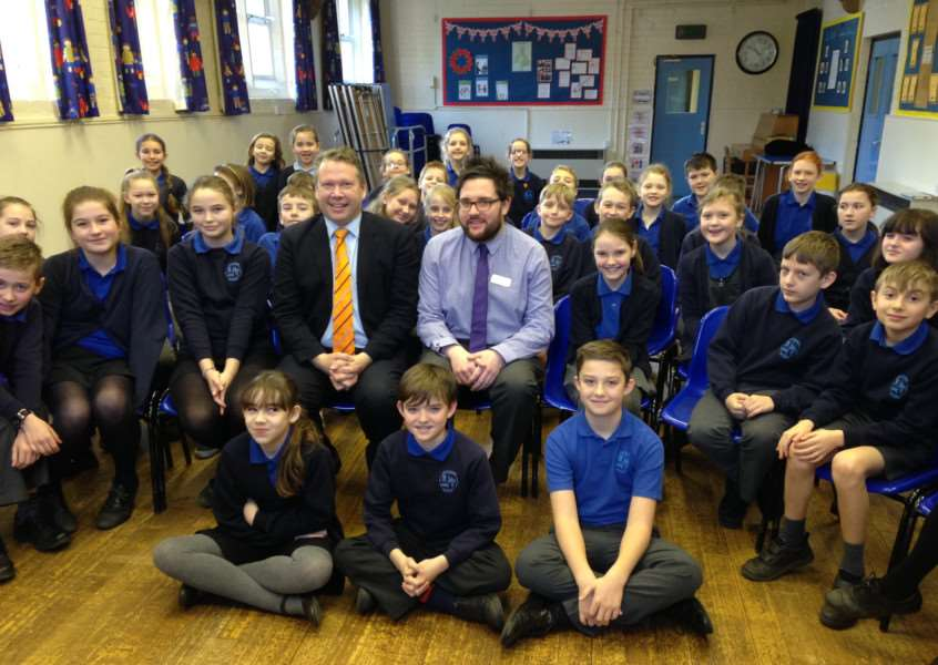 Pupils at Caythorpe Primary School were visited by Lincoln MP Karl McCartney.