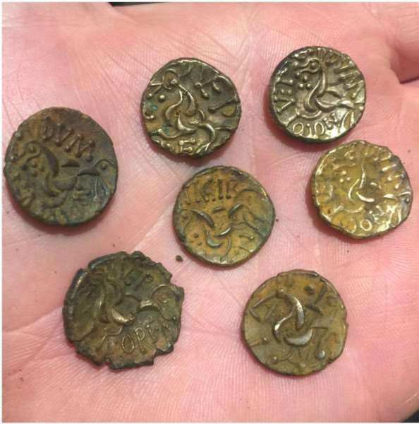 Some of the 282 Iron Age coins found by Sean Scargill and Hugh Jenkins at Riseholme near Lincoln.