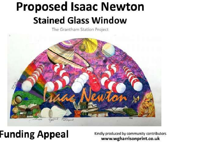 Image of the proposed Isaac Newton stained glass window for Grantham railway station.