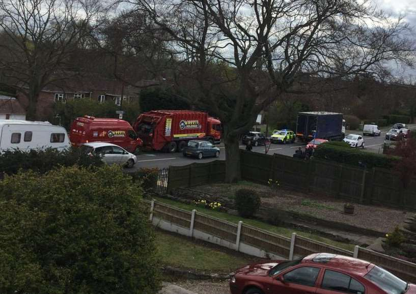 Road traffic collision in Manthorpe Road, Grantham. Photo: Ray Wootten