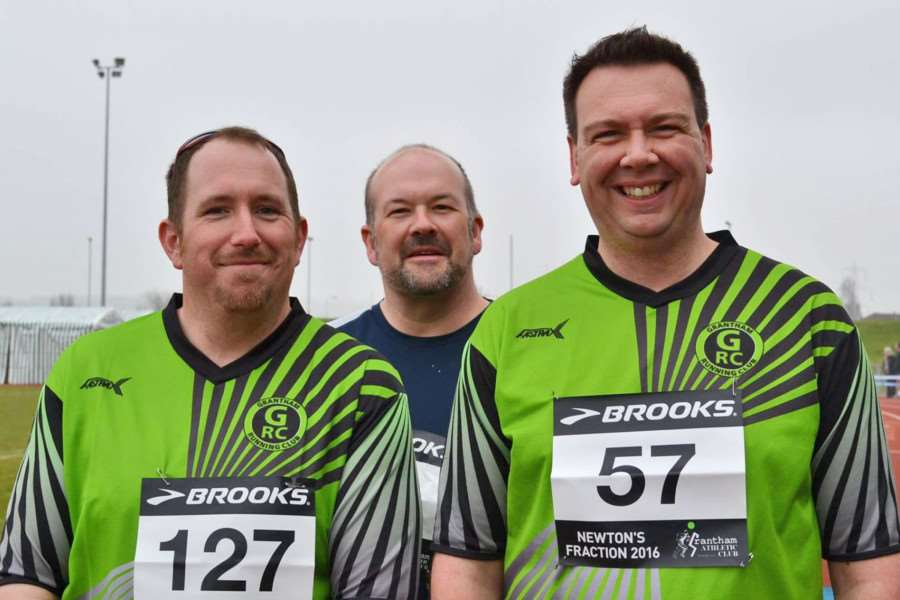 (L to R): Martin Carter, Nick Jones, and Richard Dobbs - 2015 Grantham Running Club 'Couch to 5k' course members, before completing their first half marathon. Photo: Penny Hodges GV879-YTE5Xac4hJLmb5