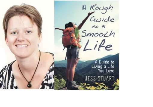 Author Jess Stuart and her book, A Rough Guide to a Smooth Life.