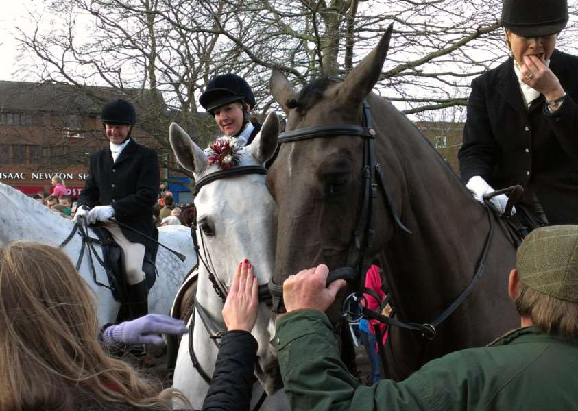 The Belvoir Hunt comes to St Peter's Hill in Grantham on Boxing Day.