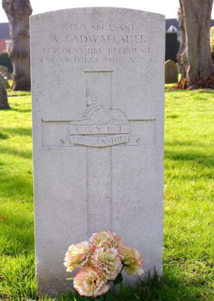 William Cadwallader is buried among the Commonwealth War Graves at Harrowby Road cemetery.