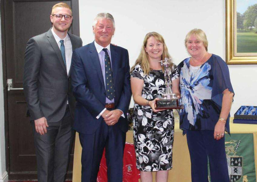 Chris Jones Memorial Trophy overall winner Penny Hallam with Barry, Rachel and Will Jones at Stoke Rochford Golf Club. Photo: Andrew Watson